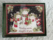 15 Unused LANG Snowmen Family Christmas Cards & Matching Envelopes Susan Winget