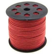9.1m 3mm rouge Suede Leather à cordes Joaillerie Artisanat Fil Cordons