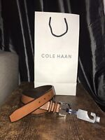 COLE HAAN MEN'S BELT LEATHER FEATHERED EDGE  BELT IN LUGGAGE NEW W/TAGS