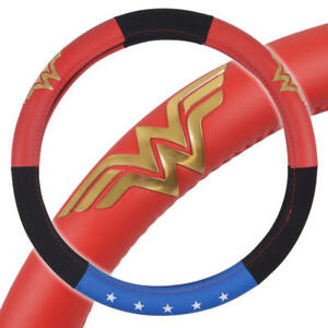"DC Comics Wonder Woman Steering Wheel Cover Protector Universal Fit 14.5-15.5"""