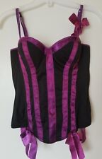 Hot Topic Black & Purple Hook Back Sexy Corset with 4 Garter Bows Size 32 B