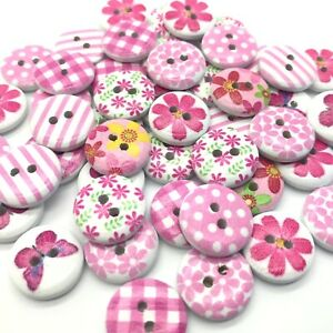 50 15mm WOODEN BUTTONS - CRAFT - CARDS - SCRAPBOOK - SEW - PINK - EMBELLISHMENTs