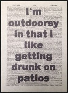 Funny Alcohol Quote Vintage Dictionary Page Wall Art Picture Print Wine Beer