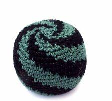 Hacky Sack Black Green Swirl Boota Bag Crochet Footbag Guatemalan Kick Bag