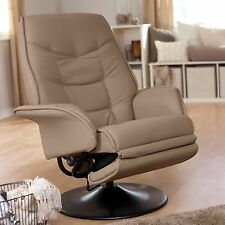 Coaster 7502 Berri Swivel Recliner Chair with Flared Arms in Beige Leatherette