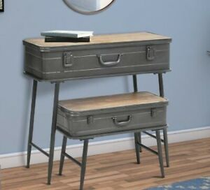 Recessed Metal Storage Trunk Console Table with Barn Latch Closure, Set of 2, Gr