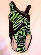 Gk Elite Gymnastics Leotard CS Child Small Green Black Zebra Stripes Sequins