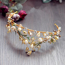 Vintage Bridal Pearl Crown Gold Leaf Tiara Wedding Rhinestone Headband Headpiece