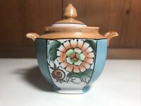 Vintage Lusterware With Hand Painted Floral Sugar Bowl Made In Japan