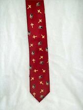Religious Polyester Red Tie with Gold Crosses All About It.