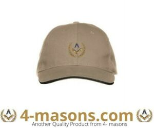Tan Masonic Baseball Cap tastefully embroidered with Square and Compass design