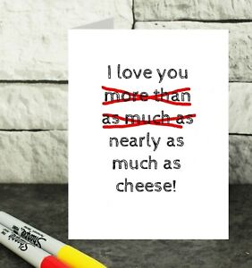 cheese lover card - funny anniversary card - cheese anniversary card - foodie