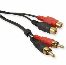 10m Twin RCA Extension Lead Phono Male to Female 10 Metre Audio Cable