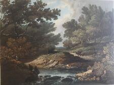 1824 Antiguo impresión; Mecha por debajo de las rocas Nr Baño en Río Boyd, Gloucestershire