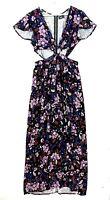 DOTTI Women's Sz 10 Black Floral Short Sleeve V-Neck Peeakaboo Waist Maxi Dress