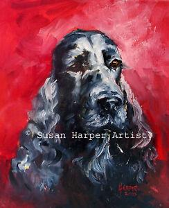 SALE Cocker Spaniel Signed Dog Print by Susan Harper Unmounted