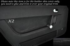 BLACK LEATHER 2X DOOR CARD TRIM SKIN COVERS FITS AUDI TT MK1 1998-2006