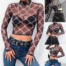 Women Sexy Plaid Blouse Mesh Perspective Short Navel Top Strech Backing T-shirt