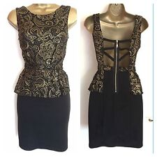 Evening Gold Lace Top Peplum Black Wedding Cocktail Party Mini Prom Dress UK 8