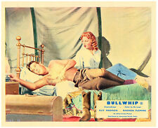 Bullwhip original lobby card Guy Madison Rhonda Fleming share a bed