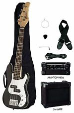 """RAPTOR 38"""" Kid's Junior Electric P Bass Package - BLACK w/ Amp Bag Cable Pick"""