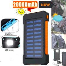 Solar 20000mah Dual USB Power Bank Portable Charger Waterproof LED Flashlight