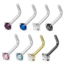 3mm PRONG SET CZ NOSE RING STUD(L-SHAPE) MADE W/316L SURGICAL STEEL(20G or 18G)