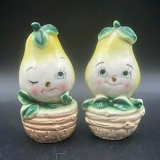 Vintage Ceramic Salt Pepper Shakers Anthropomorphic Pear Basket Winking Japan