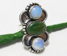 32cts Ring Tree Agate & Opalite Gemstone 925 Sterling Silver Plated Size 9
