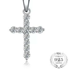 Luxury Lab Created Dimond Cross Necklace 45cm Italian Box Chain + Travel Pouch