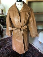 Women's Vintage Vegan Leather Trench Coat.