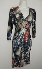 MILANO Size M Multi-Color V Neck Side Ruched Drap Front Stretch Dress