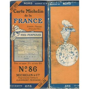 CARTE Michelin N°86 FOIX-PERPIGNAN Banyuls St Girons Quillan Ax Montrejeau 1924