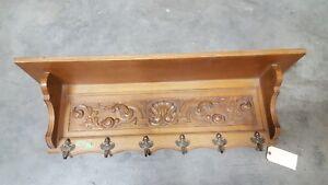 Antique French Carved Oak Coat Rack Hall Shelf Rack