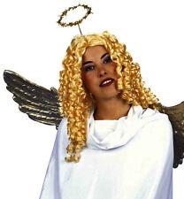 Ladies Blonde Curly Angel Wig w/Halo Cupid Gabriel Fairy Fancy Dress Valentine