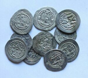 *SC*  LOT OF 10 UNRESEARCHED BETTER SASANIAN SILVER DRACHMS, VF+!