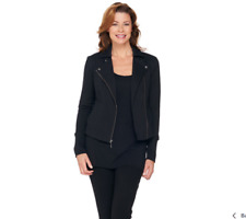 H by Halston Women Size 4 French Terry Motorcycle Jacket with Rib Detail Black