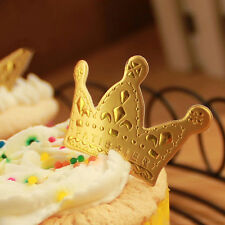 50pcs Gold Crown Cupcake Toppers,Wedding Picks,Party Picks,Food Pick 4*2.5cm QW