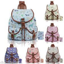 Dogs Pets Canvas Drawstring Pocket Backpack Rucksack School Shoulder Bag Purse