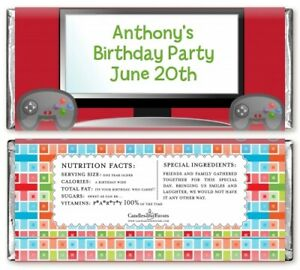 Video Game Time Personalized Birthday Party Candy Bar Wrappers - Candy Favor