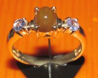 SECONDHAND EX GTV 9CT YELLOW GOLD CHRYSOPRASE & TANZANITE CLUSTER RING SIZE N