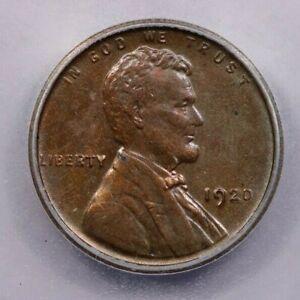 1920-P 1920 Lincoln Wheat Cent ICG AU58 Details