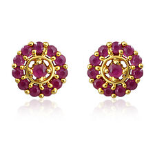 Gold Plated Stud Earrings With Ruby ER8952 by Mahi