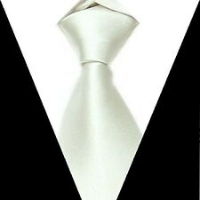 D.berite Men's White 100% silk Groom wedding Party Handmade Neck Tie Necktie S16