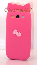 for Samsung galaxy s3 soft back case hot pink w/ 3D bow hello kitty kitten S III