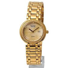 "NEW IN BOX - LADIES ""BURGI"" SWISS WATCH with CRYSTALS & DIAMOND ACCENTS !!"