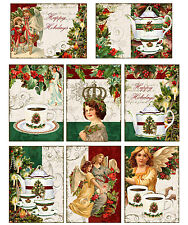 Christmas vintage inspired tags cards angel tea scrapbooking s/8 with envelopes