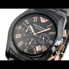 Emporio Armani CERAMICA Herren Uhr AR1410 KERAMIK Chrono schwarz, rose