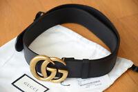 Original Gucci Gürtel Schwarz Leder GG Gold Schnalle GR 85