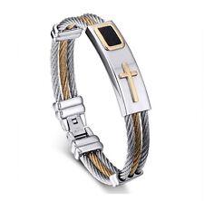 Premium Gold Stainless Steel Cross Bracelet